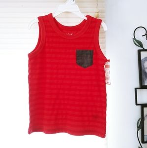 Toddler boy's red pocket muscle shirt NWT